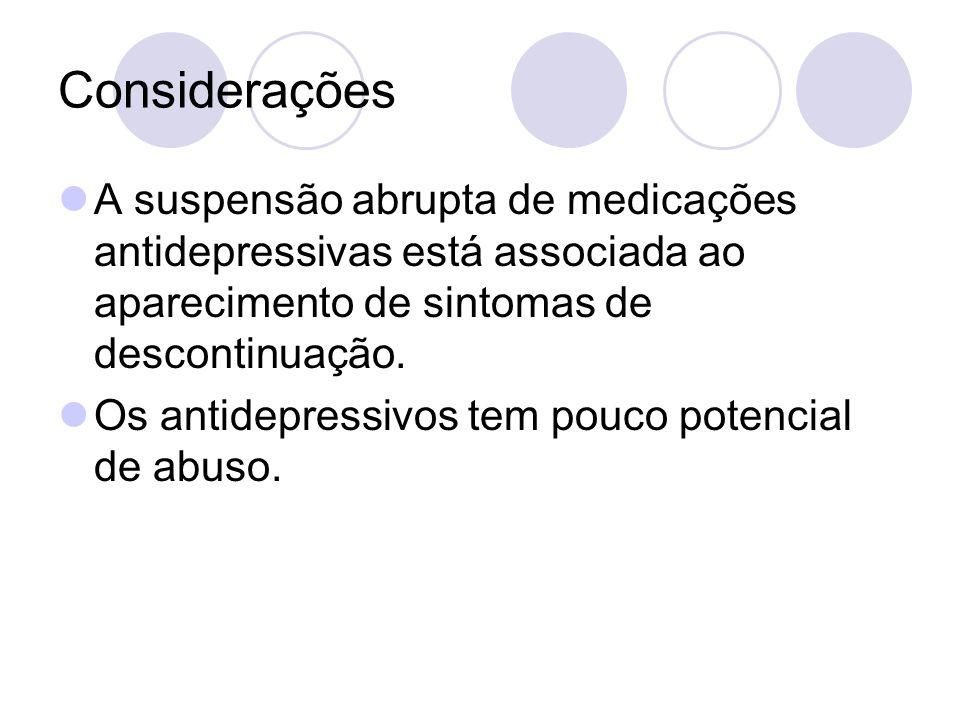 Considerações A suspensão abrupta de medicações antidepressivas está associada ao aparecimento de sintomas de descontinuação.
