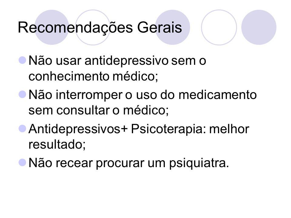 Recomendações Gerais Não usar antidepressivo sem o conhecimento médico; Não interromper o uso do medicamento sem consultar o médico;