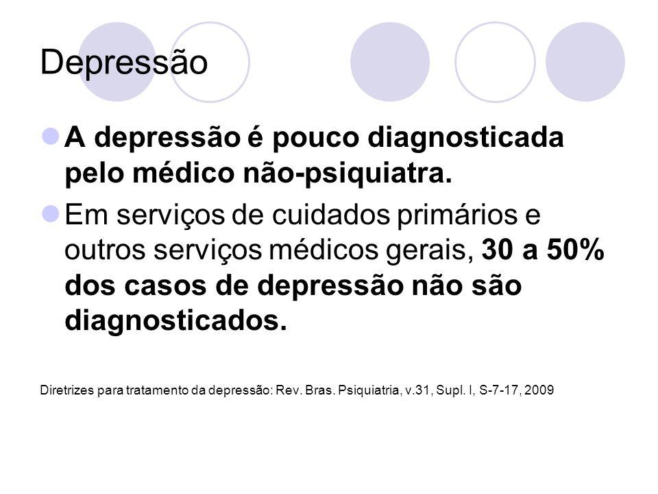 Depressão A depressão é pouco diagnosticada pelo médico não-psiquiatra.