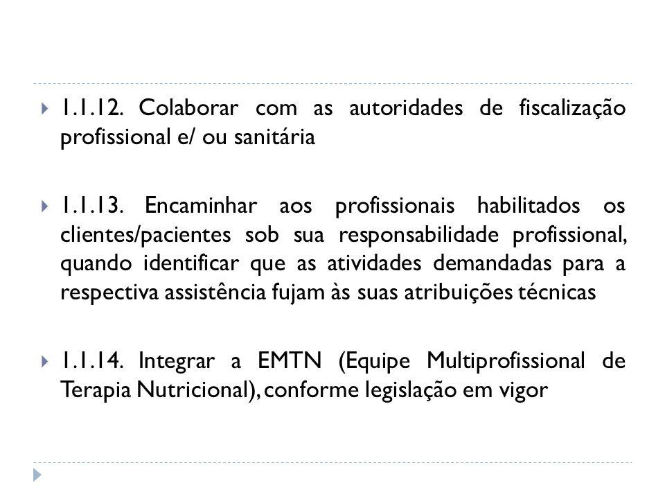 1.1.12. Colaborar com as autoridades de fiscalização profissional e/ ou sanitária