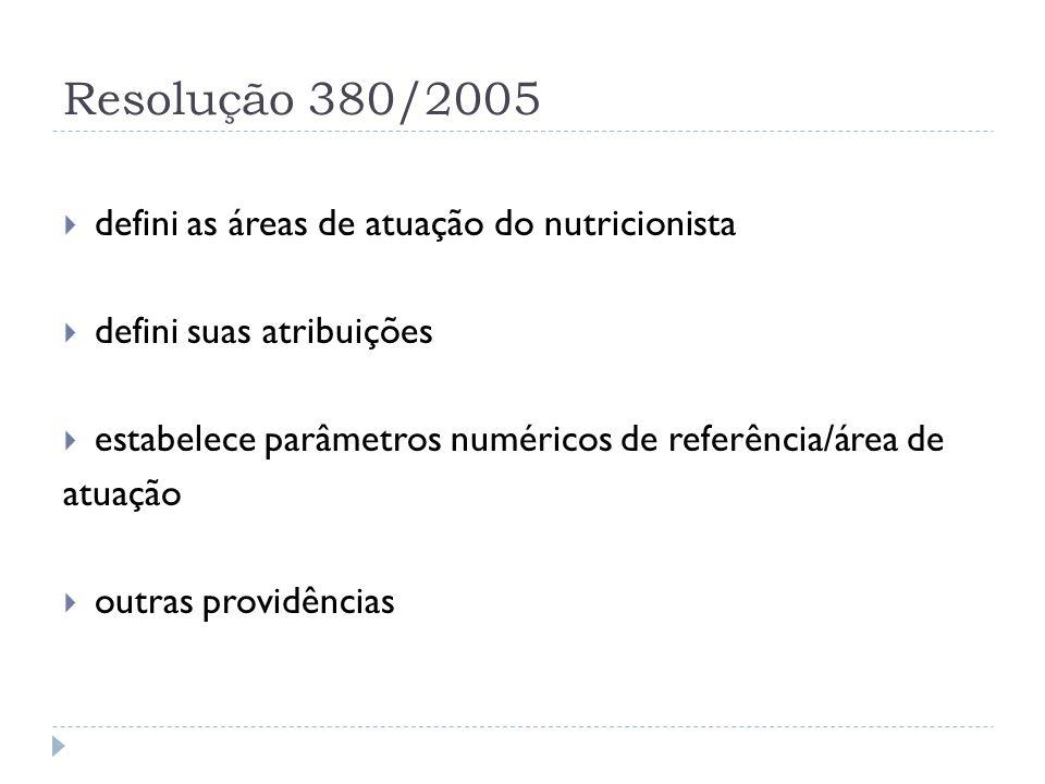 Resolução 380/2005 defini as áreas de atuação do nutricionista