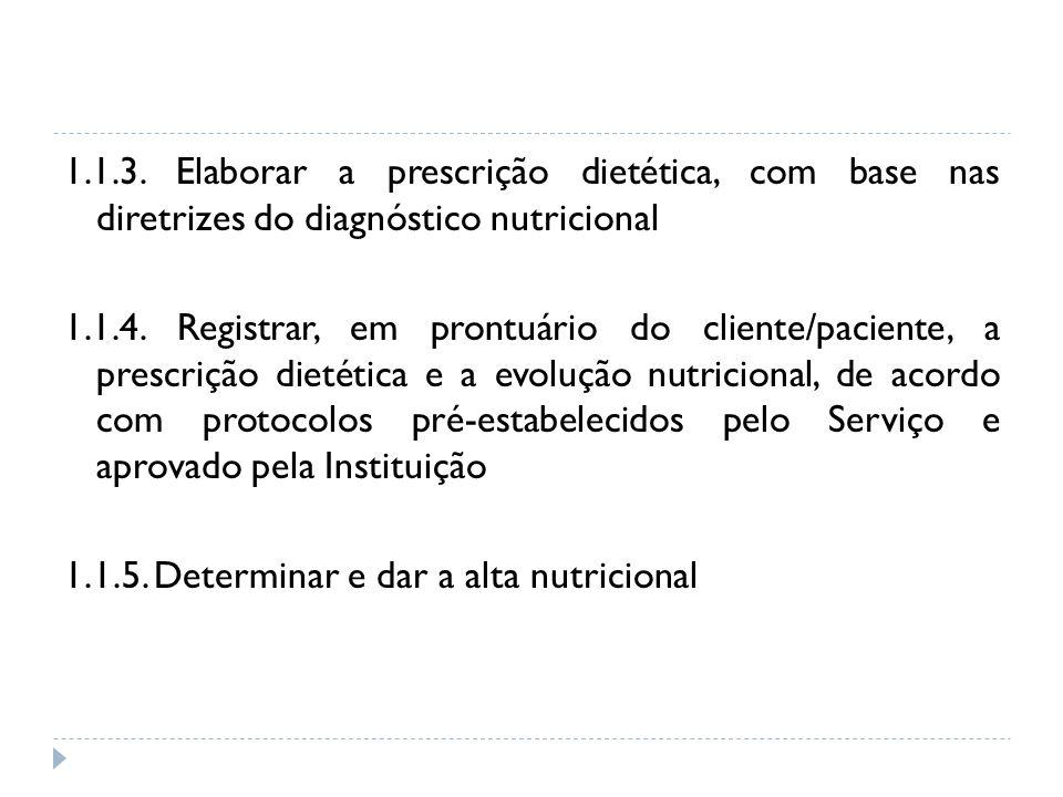 1.1.3. Elaborar a prescrição dietética, com base nas diretrizes do diagnóstico nutricional 1.1.4.