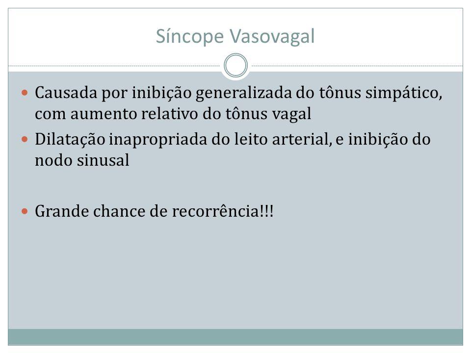 Síncope Vasovagal Causada por inibição generalizada do tônus simpático, com aumento relativo do tônus vagal.