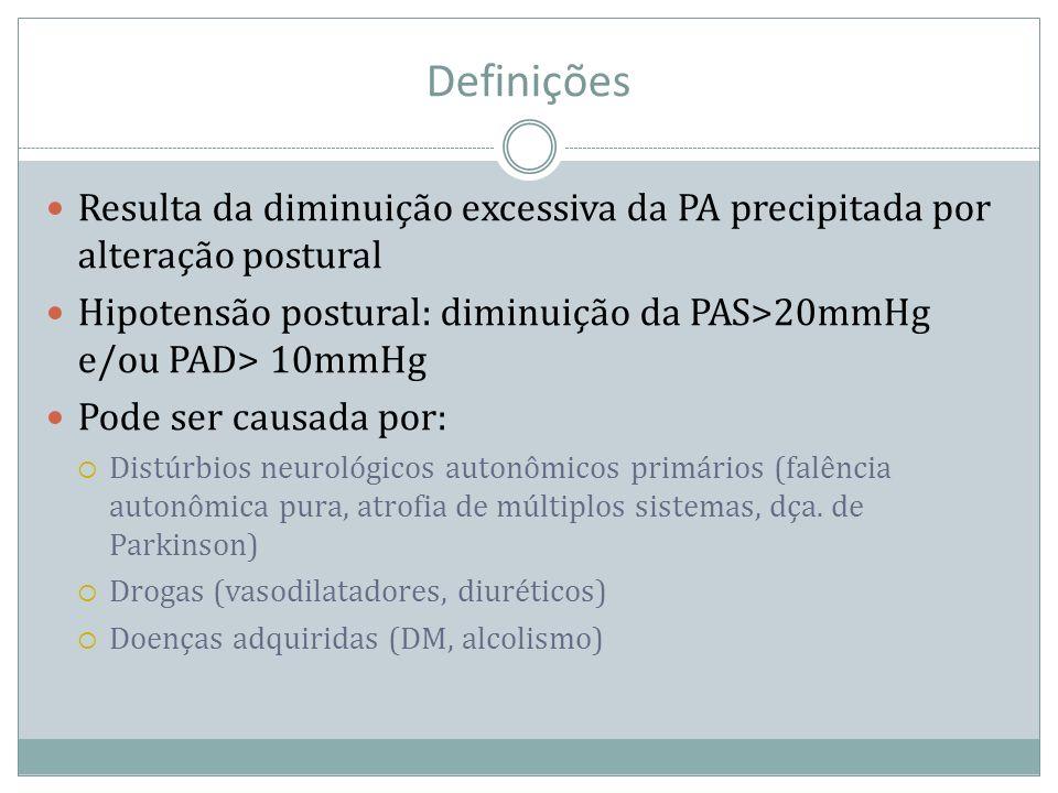 Definições Resulta da diminuição excessiva da PA precipitada por alteração postural. Hipotensão postural: diminuição da PAS>20mmHg e/ou PAD> 10mmHg.