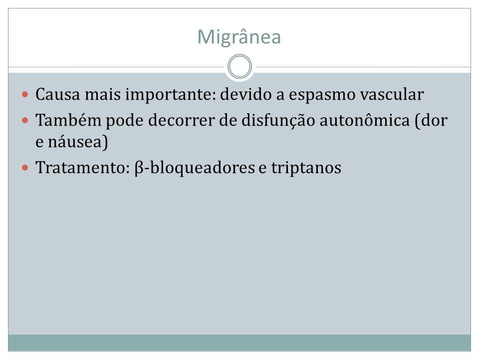 Migrânea Causa mais importante: devido a espasmo vascular