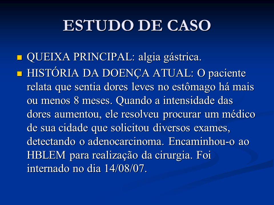 ESTUDO DE CASO QUEIXA PRINCIPAL: algia gástrica.