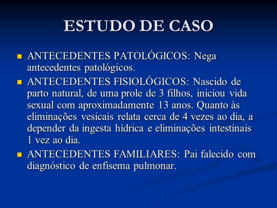 ESTUDO DE CASO ANTECEDENTES PATOLÓGICOS: Nega antecedentes patológicos.