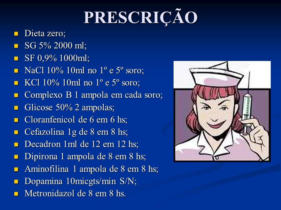 PRESCRIÇÃO Dieta zero; SG 5% 2000 ml; SF 0,9% 1000ml;