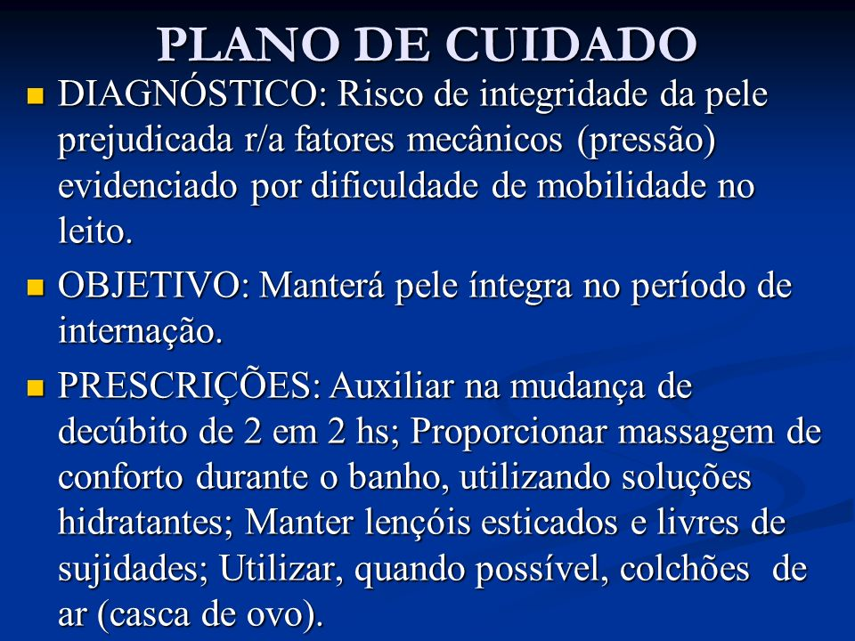 PLANO DE CUIDADO