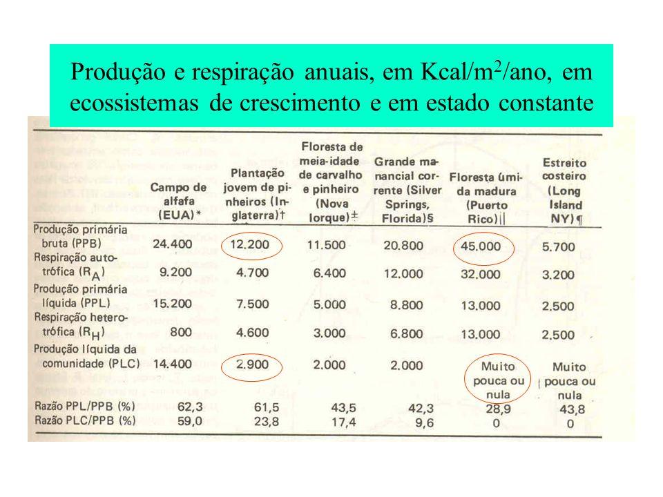 Produção e respiração anuais, em Kcal/m2/ano, em ecossistemas de crescimento e em estado constante