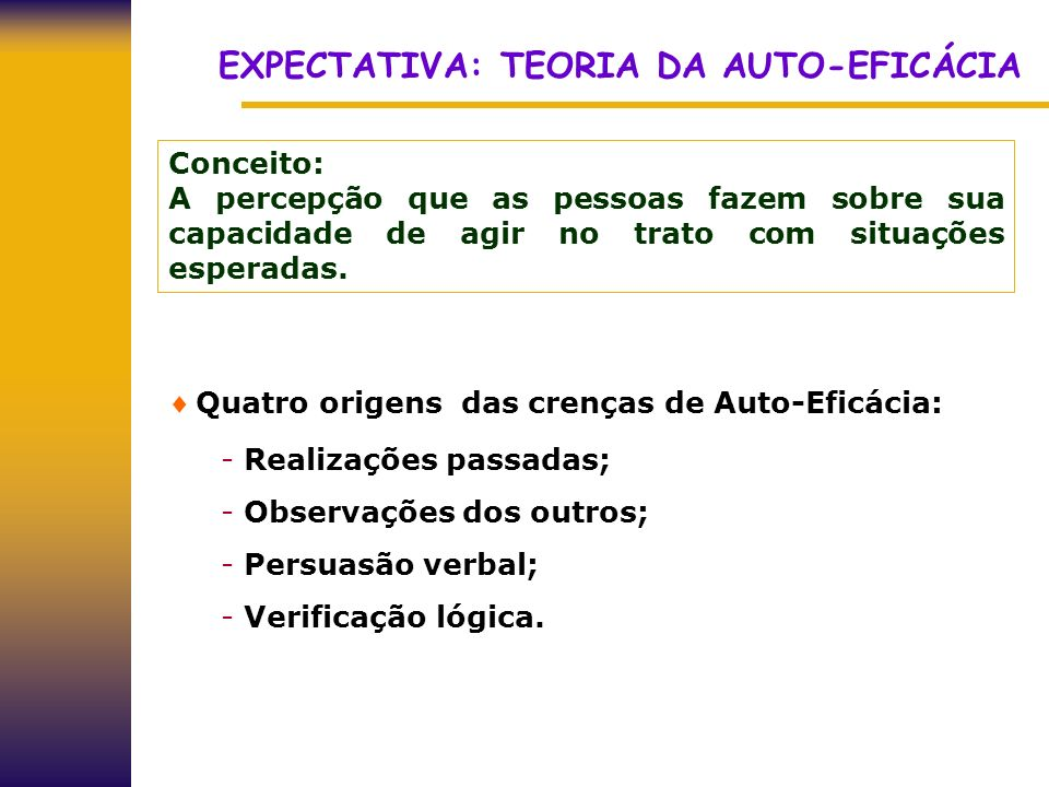 EXPECTATIVA: TEORIA DA AUTO-EFICÁCIA