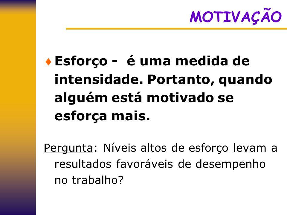 MOTIVAÇÃO Esforço - é uma medida de intensidade. Portanto, quando alguém está motivado se esforça mais.