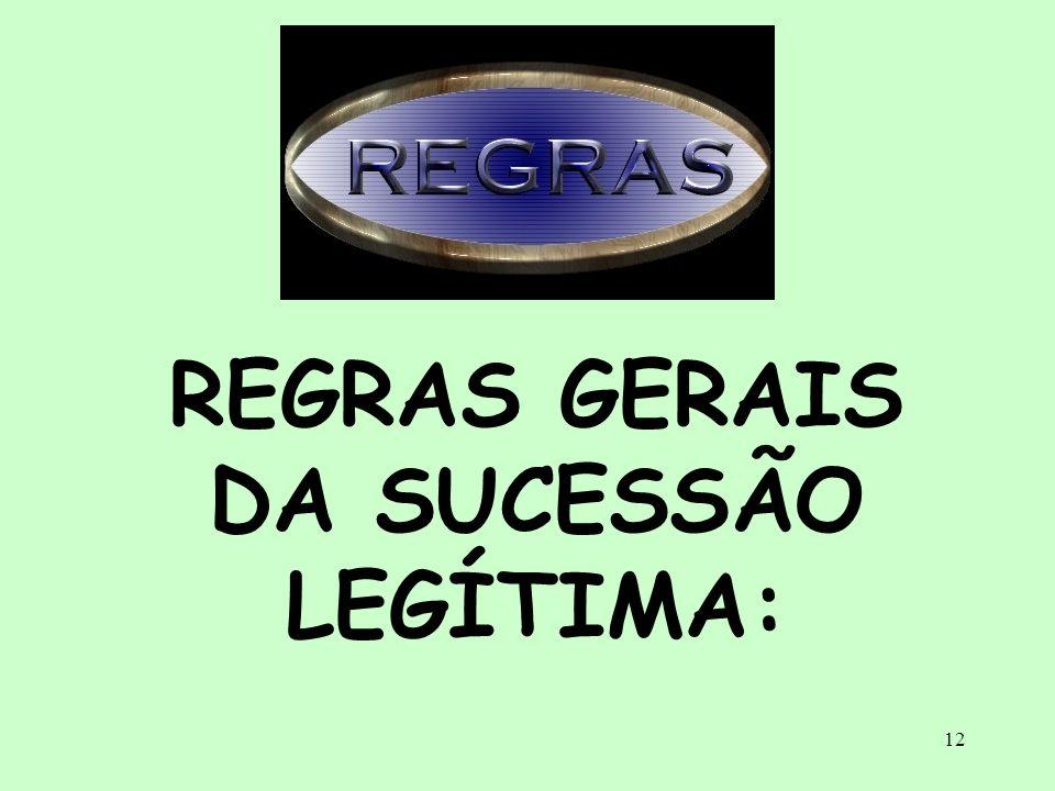 REGRAS GERAIS DA SUCESSÃO LEGÍTIMA:
