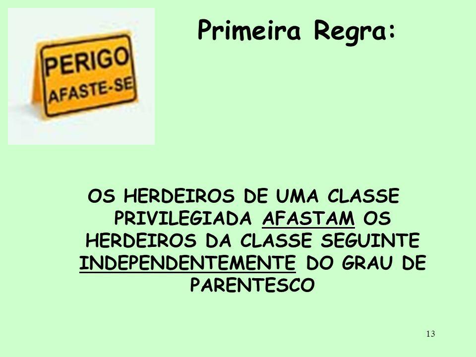 Primeira Regra: OS HERDEIROS DE UMA CLASSE PRIVILEGIADA AFASTAM OS HERDEIROS DA CLASSE SEGUINTE INDEPENDENTEMENTE DO GRAU DE PARENTESCO.