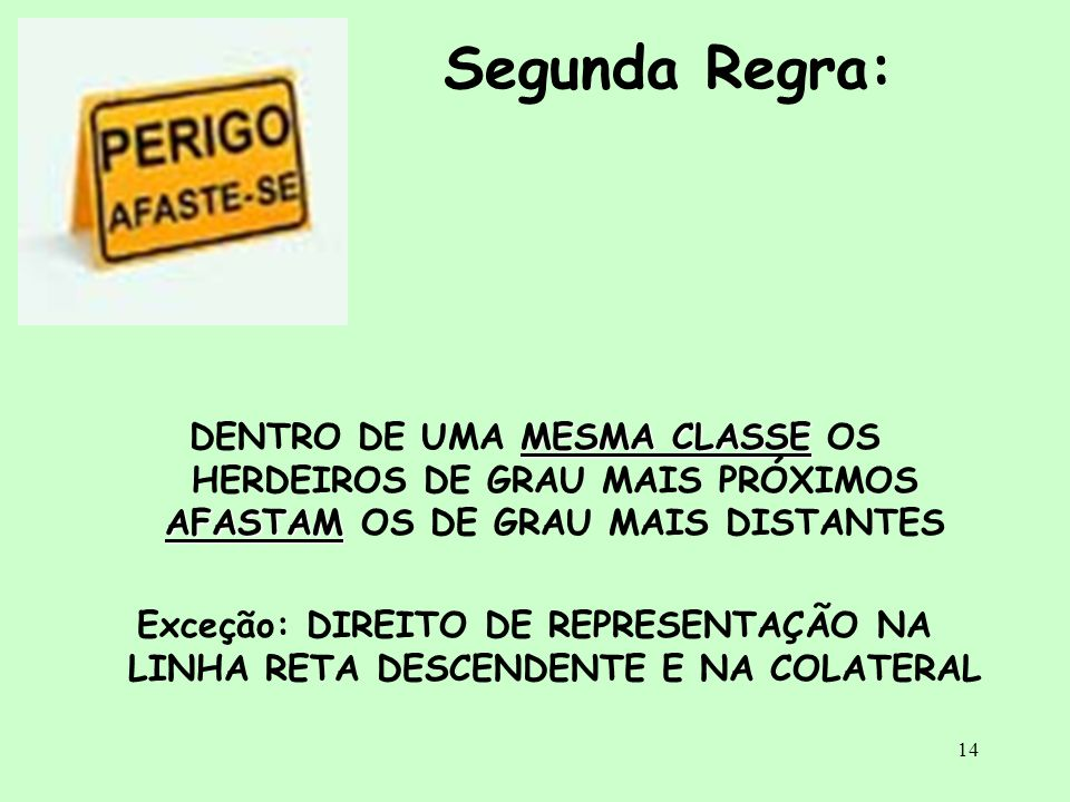 Segunda Regra:DENTRO DE UMA MESMA CLASSE OS HERDEIROS DE GRAU MAIS PRÓXIMOS AFASTAM OS DE GRAU MAIS DISTANTES.