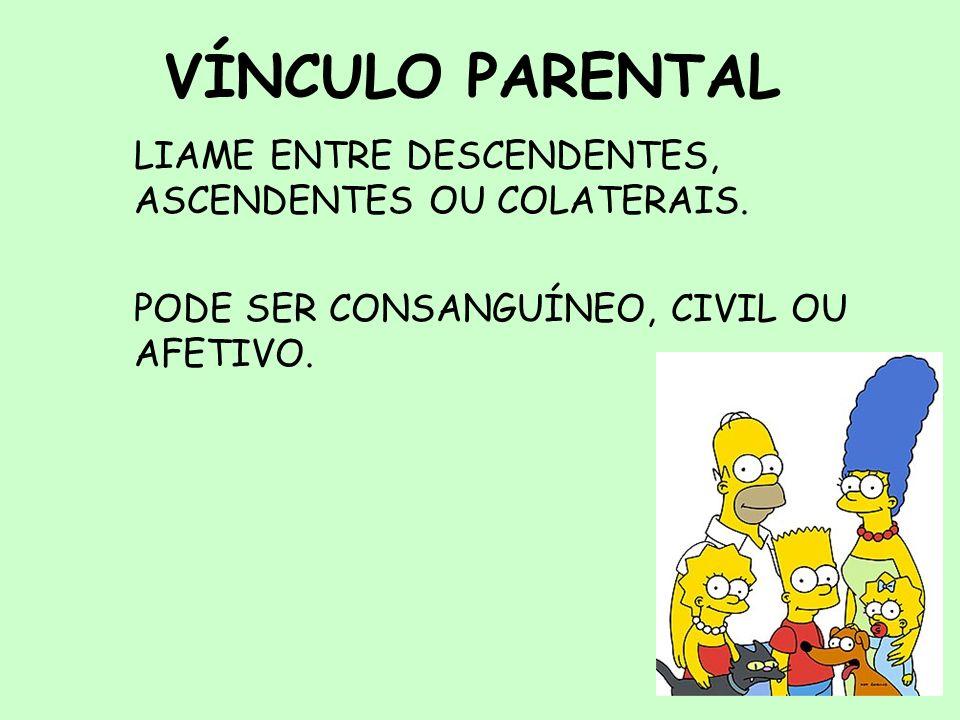 VÍNCULO PARENTAL LIAME ENTRE DESCENDENTES, ASCENDENTES OU COLATERAIS.