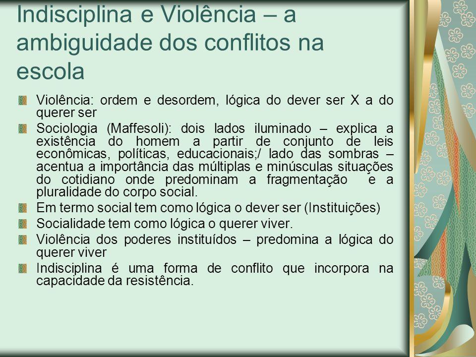 Indisciplina e Violência – a ambiguidade dos conflitos na escola