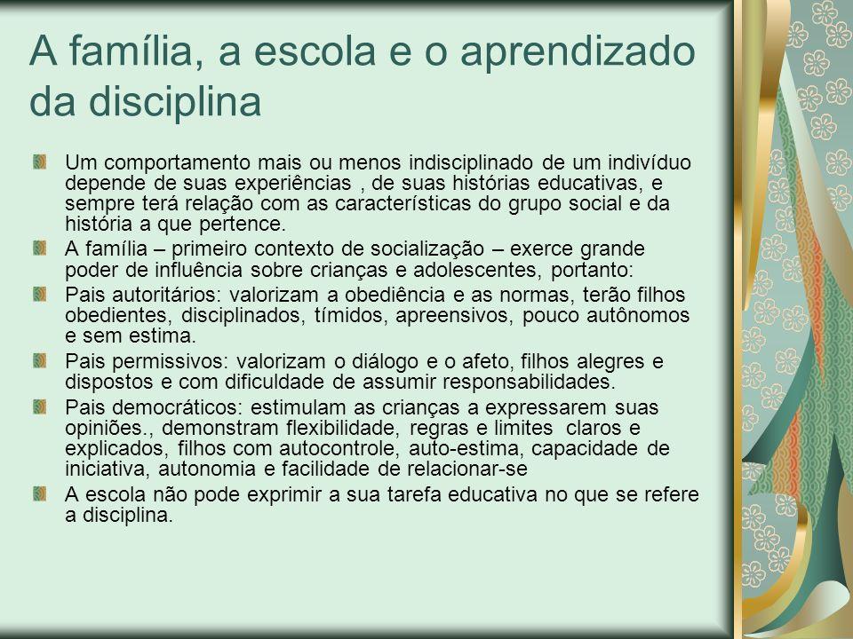 A família, a escola e o aprendizado da disciplina