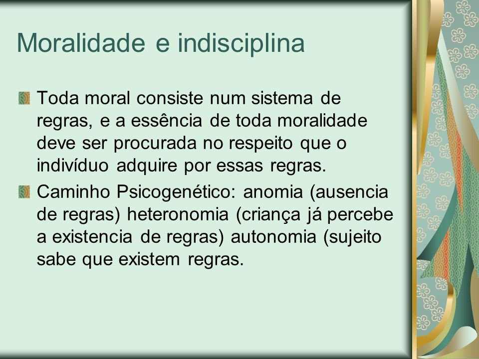 Moralidade e indisciplina