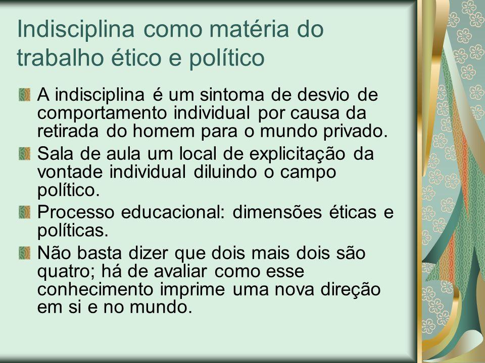 Indisciplina como matéria do trabalho ético e político