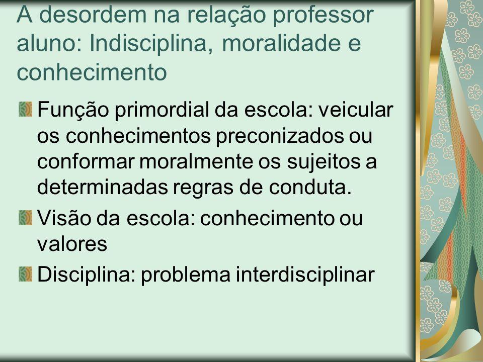 A desordem na relação professor aluno: Indisciplina, moralidade e conhecimento