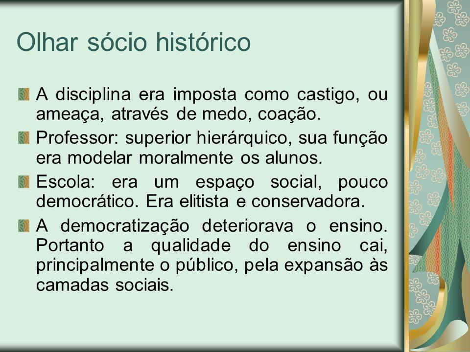 Olhar sócio histórico A disciplina era imposta como castigo, ou ameaça, através de medo, coação.