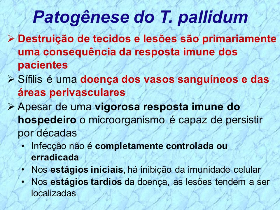 Patogênese do T. pallidum