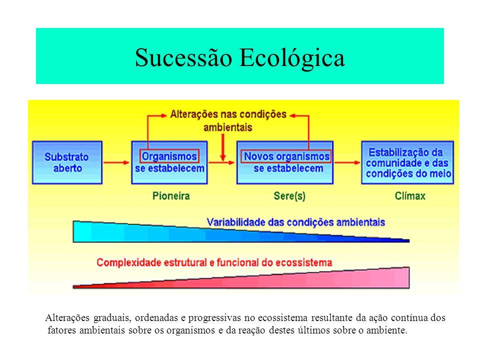 Sucessão Ecológica Alterações graduais, ordenadas e progressivas no ecossistema resultante da ação contínua dos.
