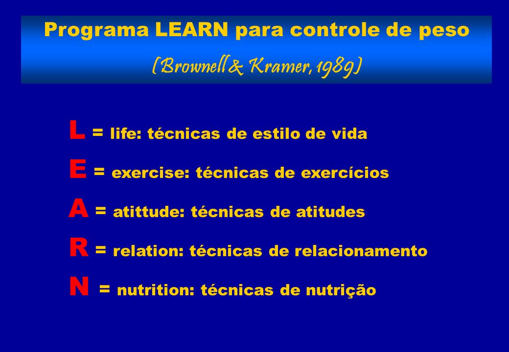 Programa LEARN para controle de peso