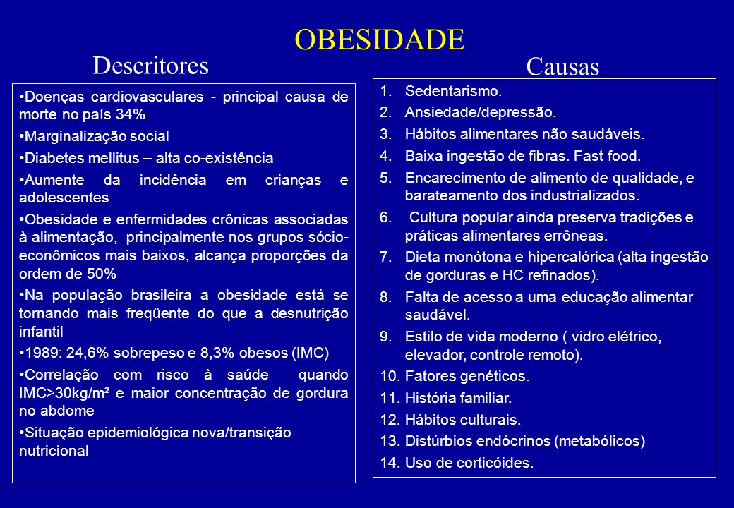 OBESIDADE Descritores Causas Sedentarismo.