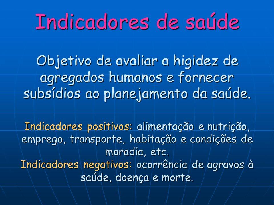 Indicadores de saúde Objetivo de avaliar a higidez de agregados humanos e fornecer subsídios ao planejamento da saúde.