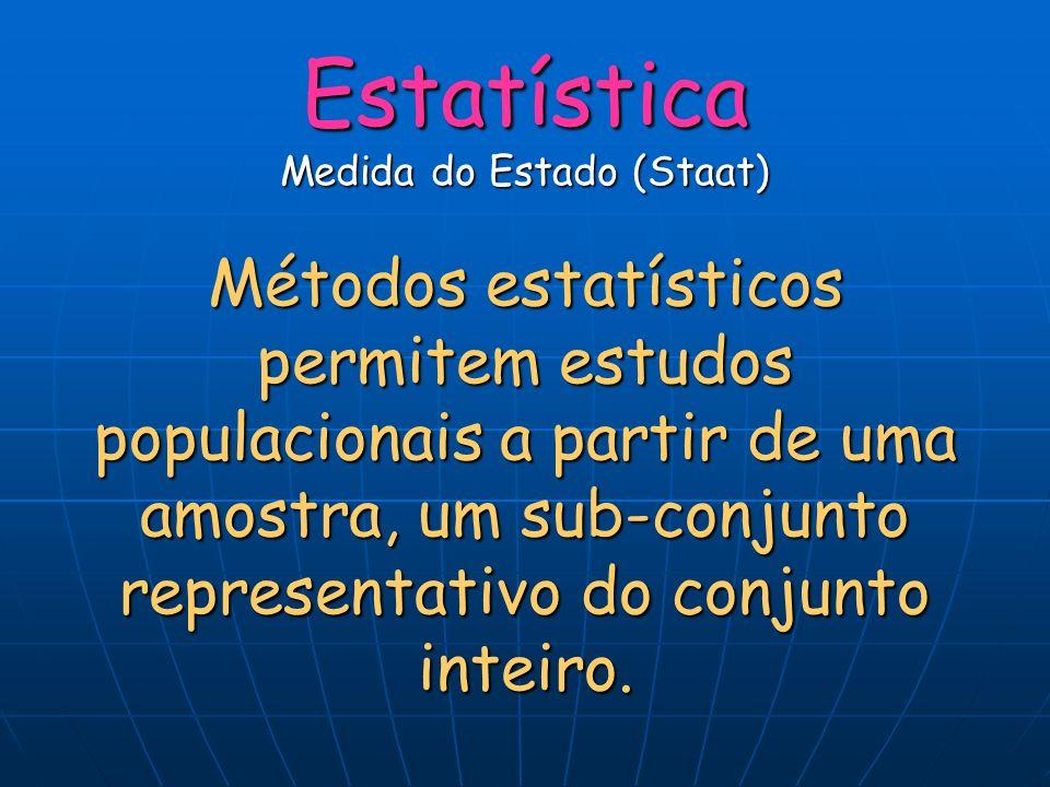 Estatística Medida do Estado (Staat) Métodos estatísticos permitem estudos populacionais a partir de uma amostra, um sub-conjunto representativo do conjunto inteiro.