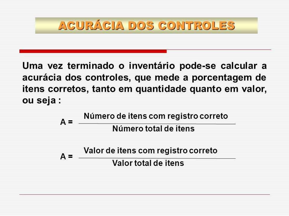 ACURÁCIA DOS CONTROLES