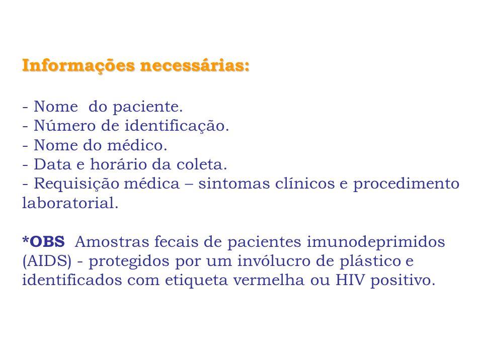 Informações necessárias: