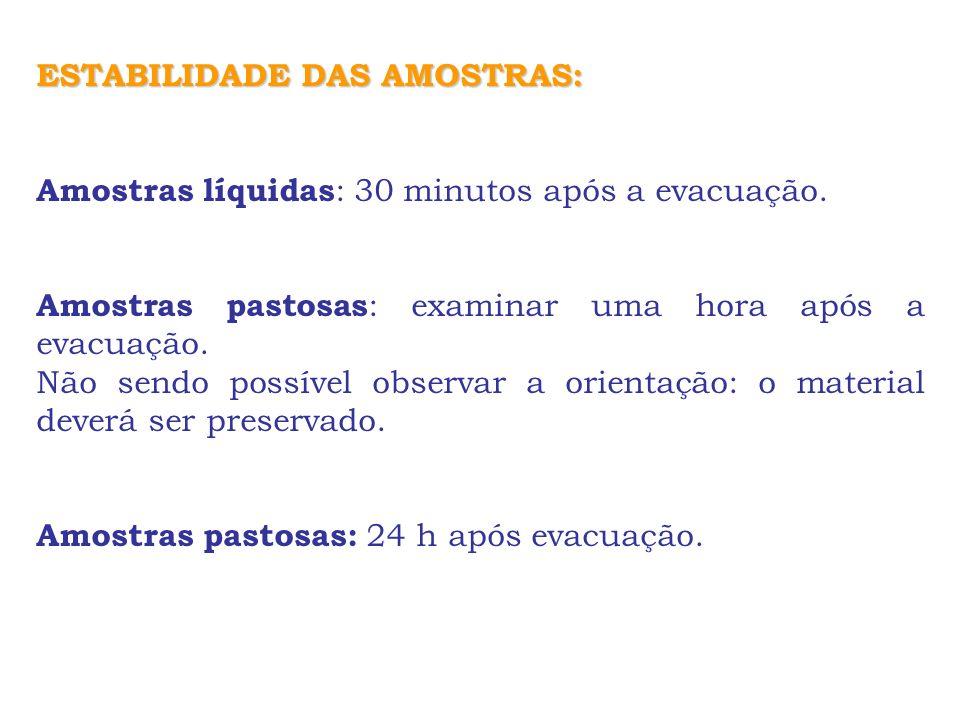 ESTABILIDADE DAS AMOSTRAS: