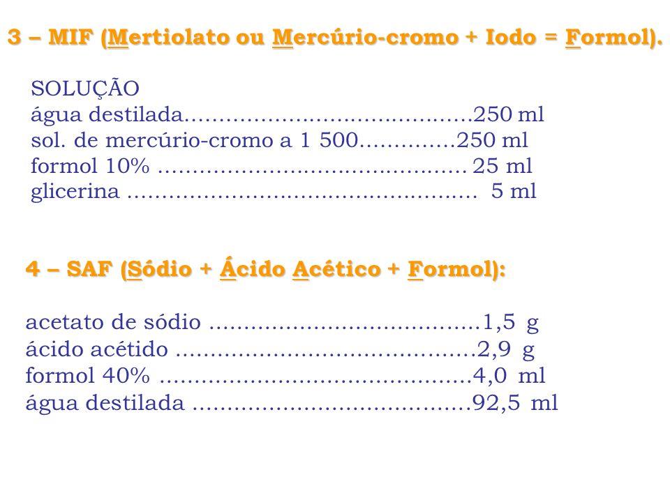 3 – MIF (Mertiolato ou Mercúrio-cromo + Iodo = Formol).