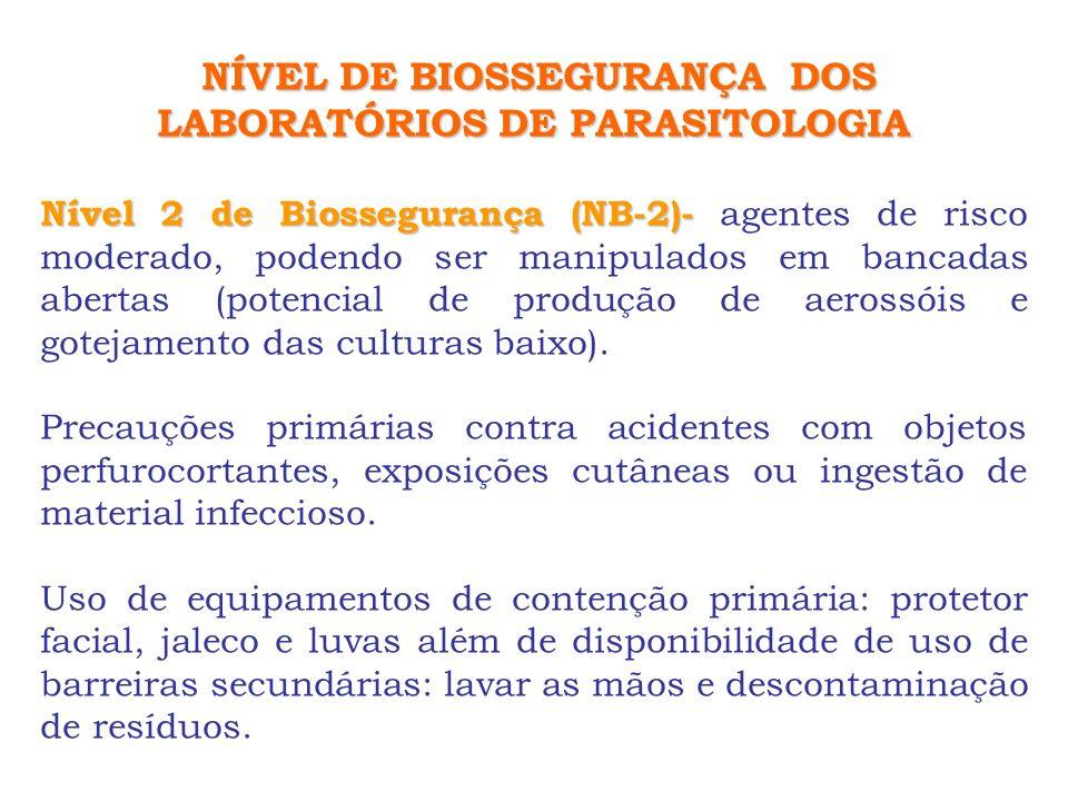 NÍVEL DE BIOSSEGURANÇA DOS LABORATÓRIOS DE PARASITOLOGIA