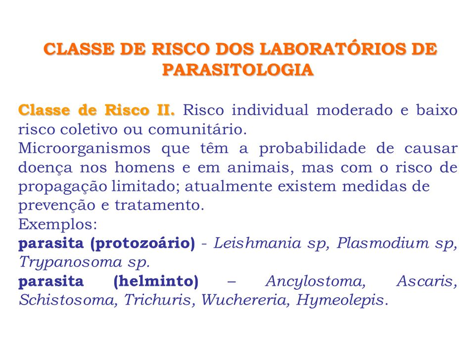 CLASSE DE RISCO DOS LABORATÓRIOS DE PARASITOLOGIA