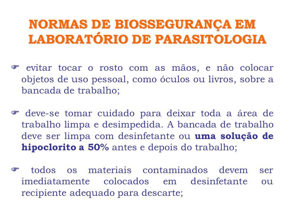 NORMAS DE BIOSSEGURANÇA EM LABORATÓRIO DE PARASITOLOGIA