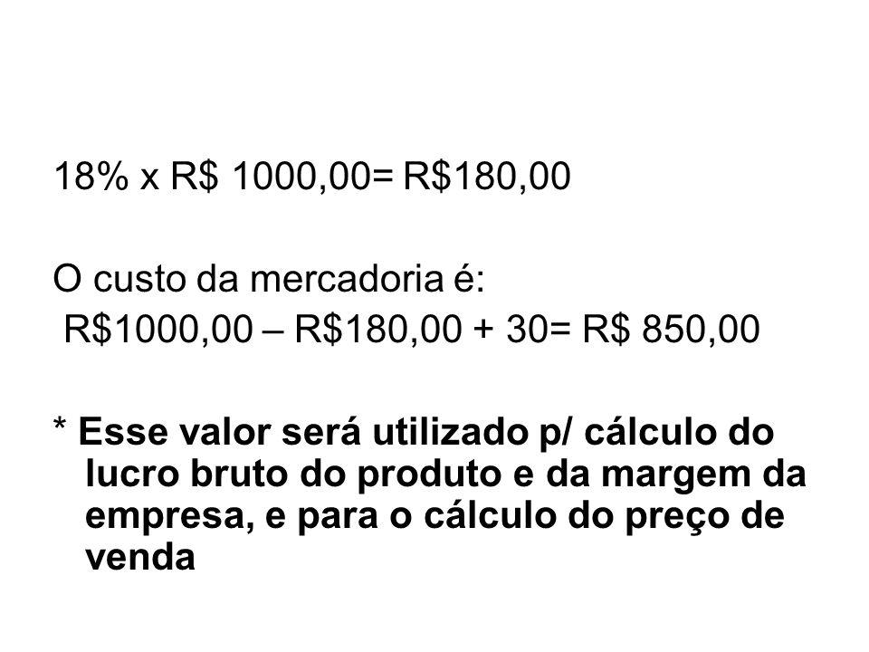 18% x R$ 1000,00= R$180,00 O custo da mercadoria é: R$1000,00 – R$180,00 + 30= R$ 850,00.