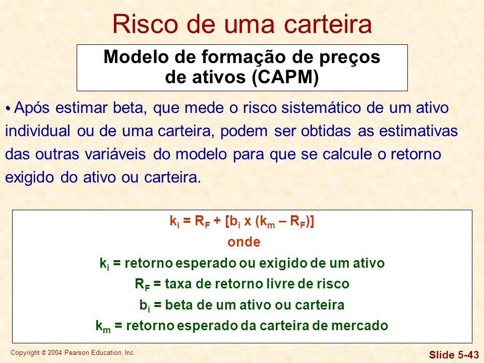 Risco de uma carteira Modelo de formação de preços de ativos (CAPM)