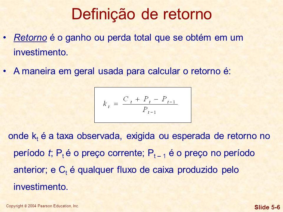 Definição de retorno Retorno é o ganho ou perda total que se obtém em um investimento. A maneira em geral usada para calcular o retorno é: