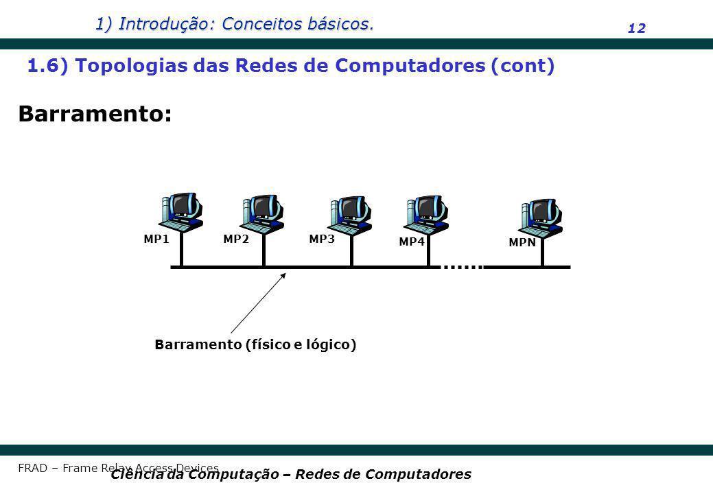 Barramento: 1.6) Topologias das Redes de Computadores (cont)