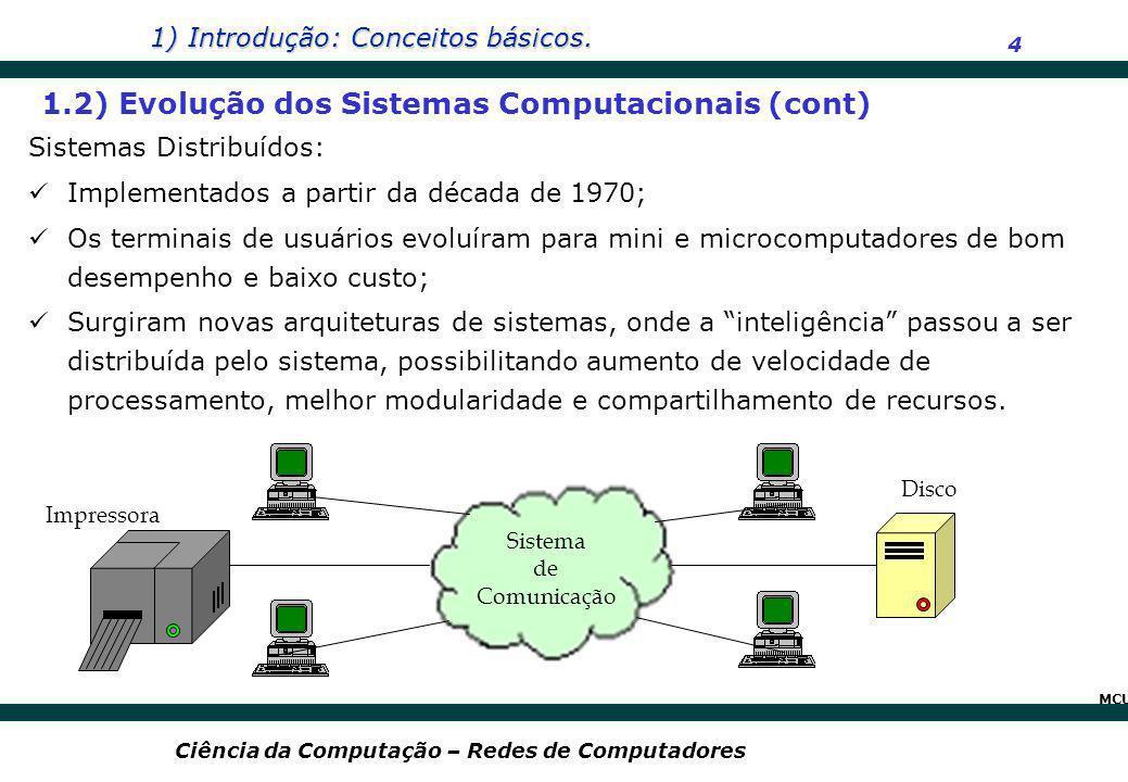 1.2) Evolução dos Sistemas Computacionais (cont)