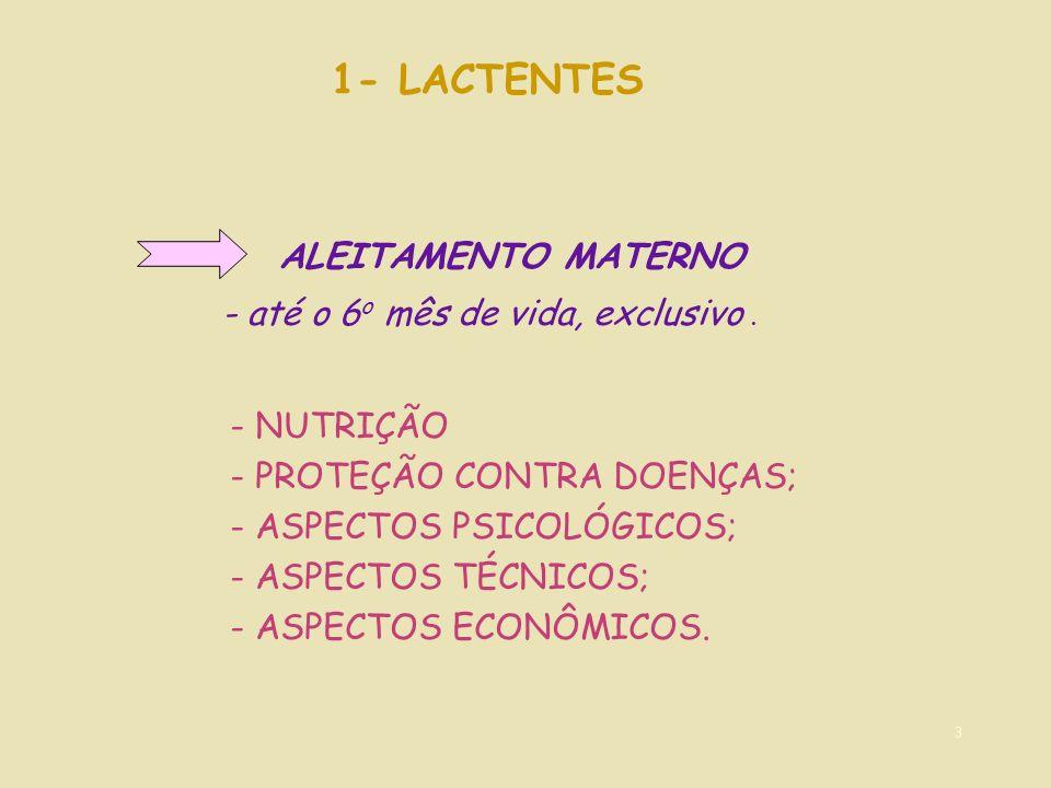 1- LACTENTES ALEITAMENTO MATERNO - até o 6o mês de vida, exclusivo .