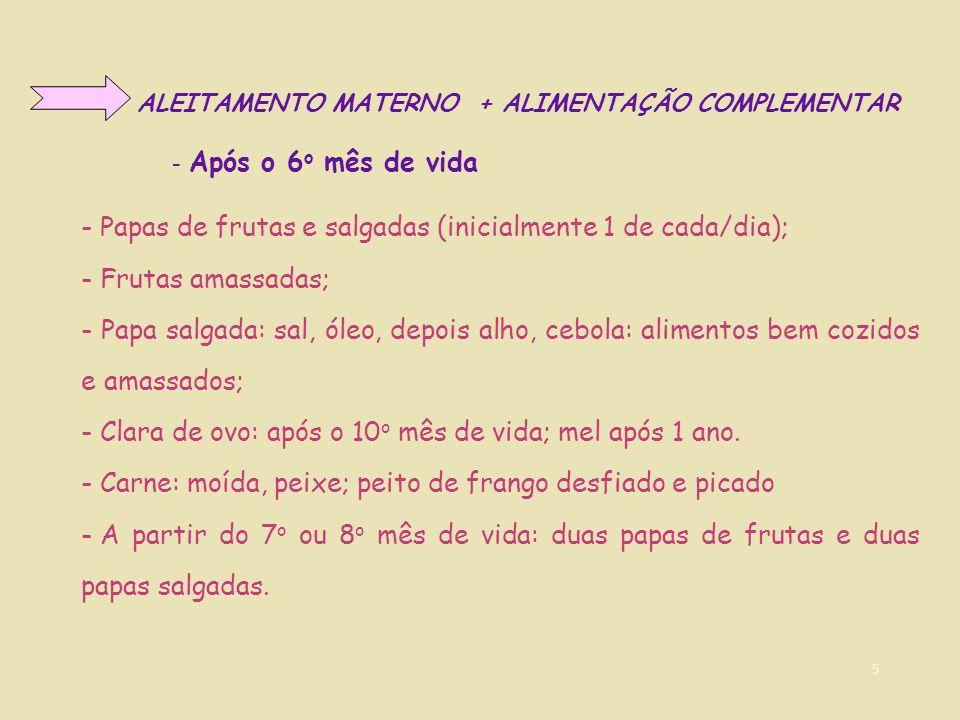 - Papas de frutas e salgadas (inicialmente 1 de cada/dia);