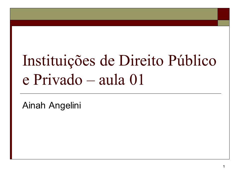 Instituições de Direito Público e Privado – aula 01