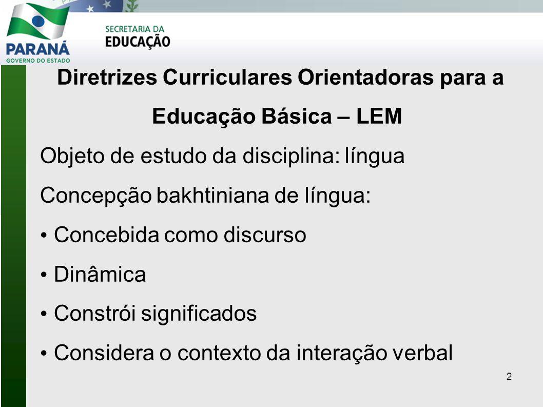 Diretrizes Curriculares Orientadoras para a Educação Básica – LEM