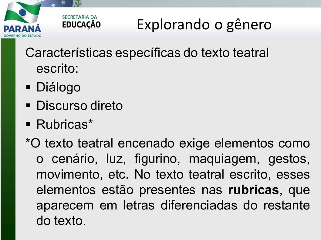 Explorando o gênero Características específicas do texto teatral escrito: Diálogo. Discurso direto.