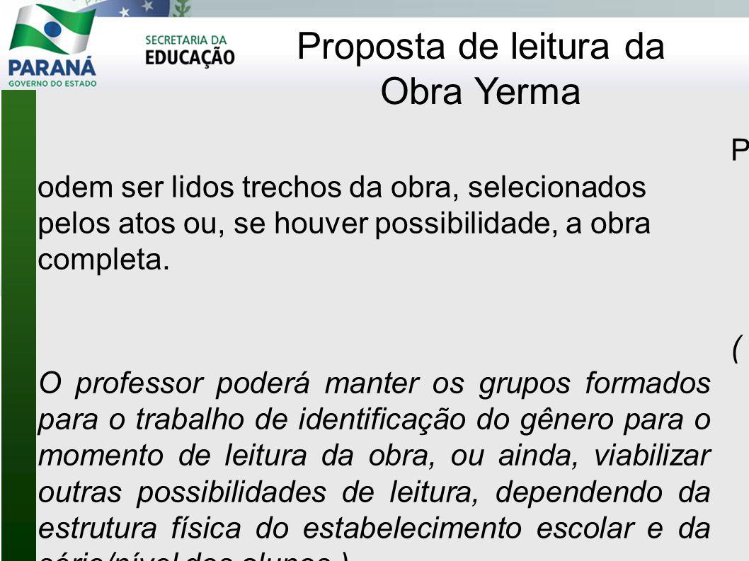 Proposta de leitura da Obra Yerma